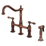 Emral Kitchen Bridge Faucet, Sidesprayer & Metal Lever Handles, Oil Rubbed Bronze