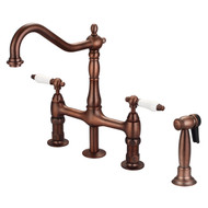 Emral Kitchen Bridge Faucet, Sidesprayer & Porcelain Lever Handles, Oil Rubbed Bronze