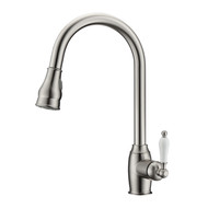 Bay Kitchen Faucet, Pull-Out Sprayer, Single Porcelain Lever Handle, Brushed Nickel