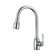 Bay Kitchen Faucet, Pull-Out Sprayer, Single Porcelain Lever Handle, Chrome