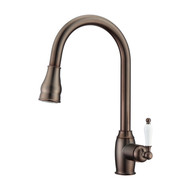 Bay Kitchen Faucet, Pull-Out Sprayer, Single Porcelain Lever Handle, Oil Rubbed Bronze