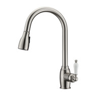 Bristo Kitchen Faucet, Pull-Out Sprayer, Single Porcelain Lever Handle, Brushed Nickel