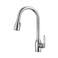 Bristo Kitchen Faucet, Pull-Out Sprayer, Single Porcelain Lever Handle, Chrome