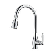 Caryl Kitchen Faucet, Pull-Out Sprayer, Single Porcelain Lever Handle, Chrome