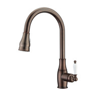 Caryl Kitchen Faucet, Pull-Out Sprayer, Single Porcelain Lever Handle, Oil Rubbed Bronze