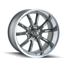 Ridler 650 Grey/Polished Lip 22X9.5 5-115 18mm 72.62mm