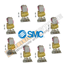 "8 pack of  1/2"" NPT SMC pneumatic Air Valves with brackets.   part number  VXD232CZ1DBXB"