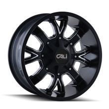Cali Off-Road Dirty Satin Black/Milled Spokes 20X9 8-180 0mm 124.1mm
