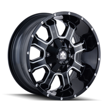 Mayhem Fierce 8103 Gloss Black/Milled Spokes 22X12 8-180 -44mm 124.1mm