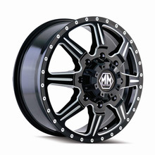Mayhem 8101 Monstir Front Black Milled Spokes 22X8.25 8-170 127mm 124.9mm