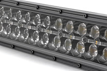 50-IN Curved Cree LED Light Bar (Dual Row / Chrome Series w/ Cool White DRL) close up view