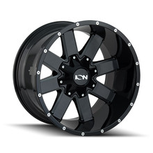 ION 141 Gloss Black/Milled Spokes 20X12 5-127/5-139.7 -19mm 87mm front view