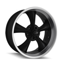 Ridler 695 Matte Black/Machined Lip  17X7 5-127 0mm 83.82mm