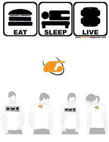 White Tee Shirt Eat, Sleep, Live
