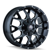 Mayhem Warrior Black/Milled Spoke 20X10 8-180 -25mm 124.1mm