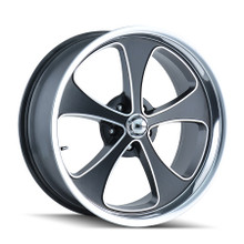 Ridler 645 Black/Machined Face/Polished Lip 20x10 5-120.65 0mm 83.82mm