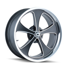 Ridler 645 Black/Machined Face/Polished Lip 18x8 5-127 0mm 83.82mm