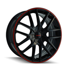 Touren 3260 Black/Red Ring 17X7.5 4-108/5-108 42mm 72.62mm