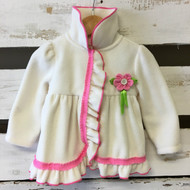 Kids Headquarters Ivory & Pink Fleece Coat