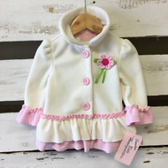 New! Kids Headquarters Ivory & Pink Ruffle Coat