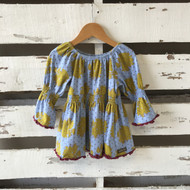 Matilda Jane Blue & Marigold Peasant Top