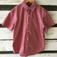 Gap Kids Brick Red & White Plaid Button Up Shirt