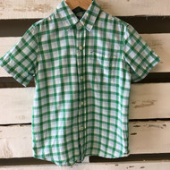 Gap Kids Green & White Plaid Button Up Shirt