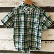 Gymboree Navy, Green & White Plaid Button Up Shirt