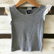 Baby Gap Grey Knit Top with Lace Cap Sleeves