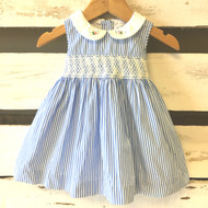 Ralph Lauren Blue & White Striped Smocked Dress