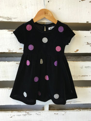 DKNY Black Velvet Polka Dot Dress