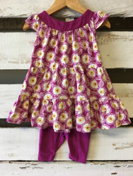 Tea Collection Plum & Yellow Floral Dress & Leggings