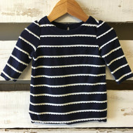 baby Gap Navy & White Scallop Striped Top