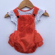 Petit Lem Coral Rose Romper with Black Polka Dot Top