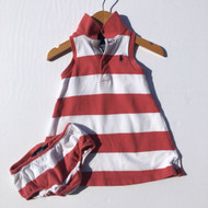Ralph Lauren Coral Striped Sleeveless Polo Dress