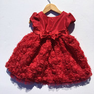 Youngland Crimson Red Flower Party Dress