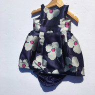 Janie & Jack Navy & Silver Flower Party Dress