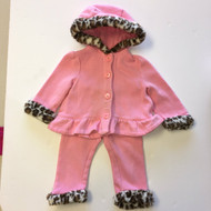 Gymboree Pink with Cheetah Fur Cuffs Jacket & Pants Set