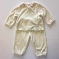 First Impressions Ivory Velour Cardigan & Pant Set