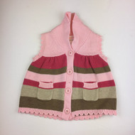 Gymboree Pink &  Green Stripe Knit Cardigan