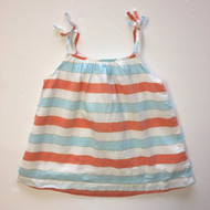Baby Gap Coral, Blue & Gold Shimmer Striped Top