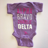 "Rabbit Skins Lavender ""ABCD"" Body Suit"