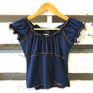 DKNY Navy Blue with Gold Trim Ruffle Top