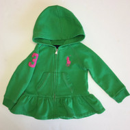 Ralph Lauren Green Peplum Zip Up Hoodie