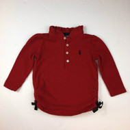 Ralph Lauren Red Ruffle Collar Polo Shirt
