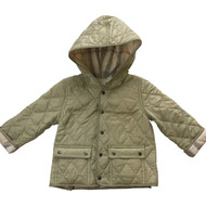 Burberry Khaki Quilted Jacket with Hood