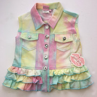 New! Lipstik Girls Tie Dye Ruffle Bottom Vest