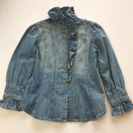 Ralph Lauren Denim Ruffle Button Up Shirt