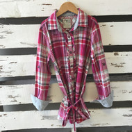 Mayoral Red & Pink  Plaid Tunic Top with Tie