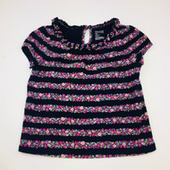 Baby Gap Navy & Pink Rose Striped Top